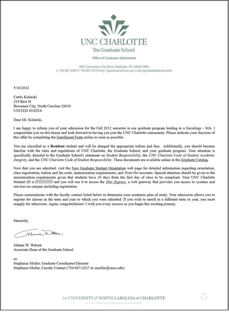 College Acceptance Letter Schedule Ma Socy Admissions Letter I Curtis