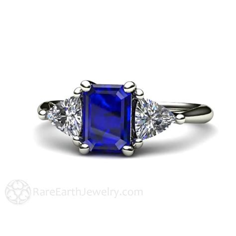Sapphire Blue Ring emerald cut blue sapphire and engagement ring