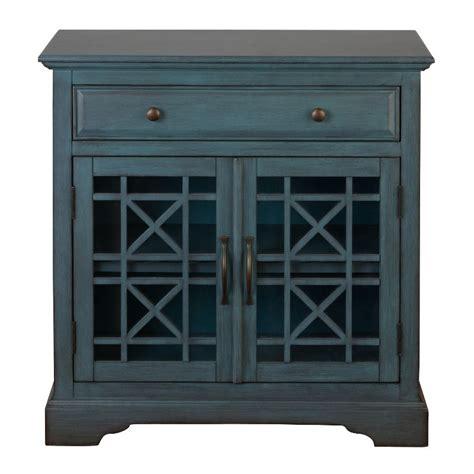 antique blue 2 door 1 drawer accent cabinet