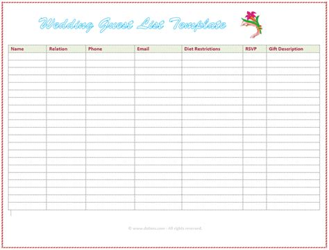 guest list template for wedding 7 free wedding guest list templates and managers