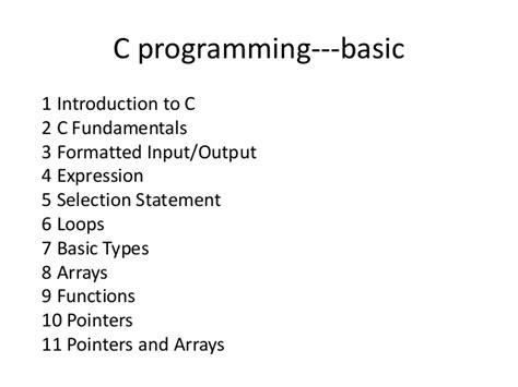 tutorial of c programming in c basics
