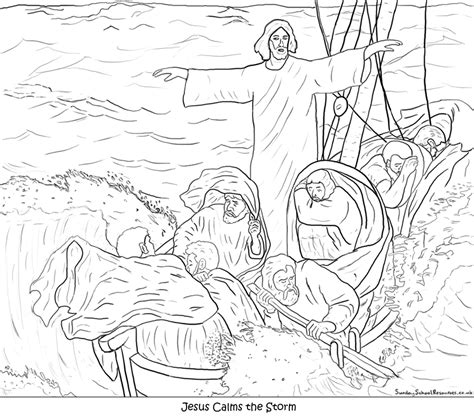 jesus calms the coloring page free coloring pages of jesus and disciples