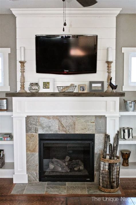 Reclaimed Fireplace by Shiplap Fireplace With Reclaimed Wood Mantle And Built Ins