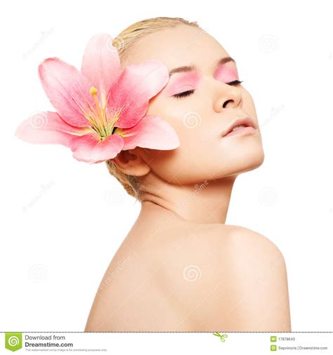 Make Up Caring spa wellness skin care with pink make up stock
