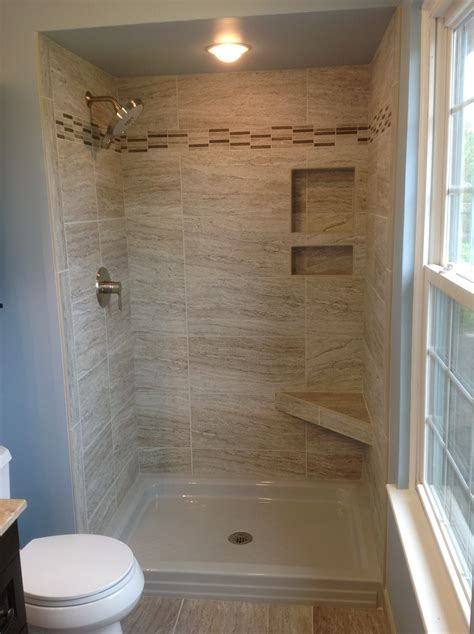 12x24 tile in a small bathroom marazzi silk 12x24 quot tiles in a 34x48 quot shower space