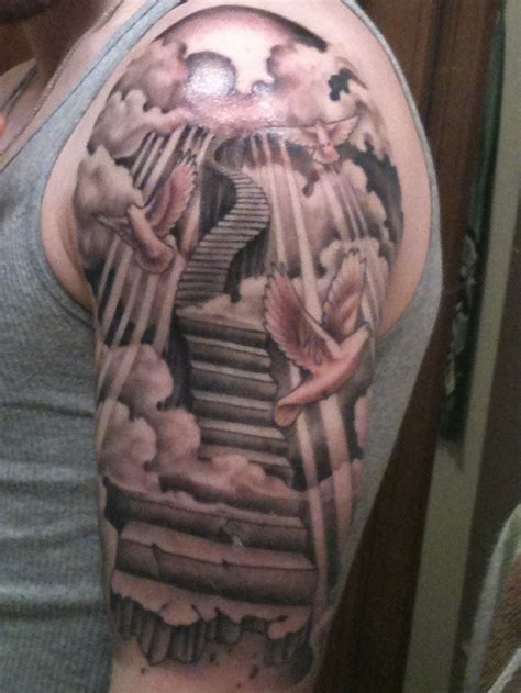 stairway to heaven tattoo sleeve stairs search tattoos