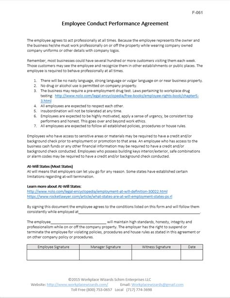 Performance Agreement Letter Template Restaurant Kitchen Forms Get Organized Now Workplace Wizards