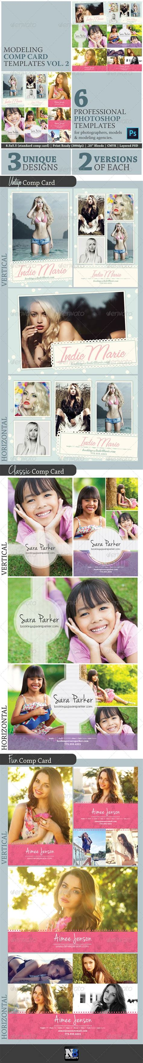 comp card design templates model comp card template kit vol 2 model comp card and
