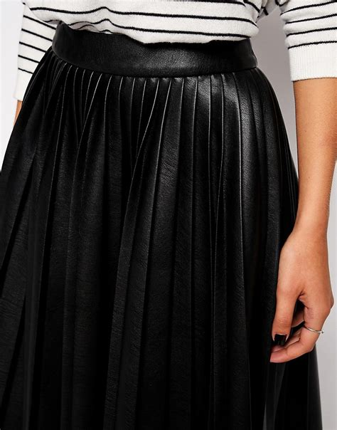asos asos pleated midi skirt in leather look at asos