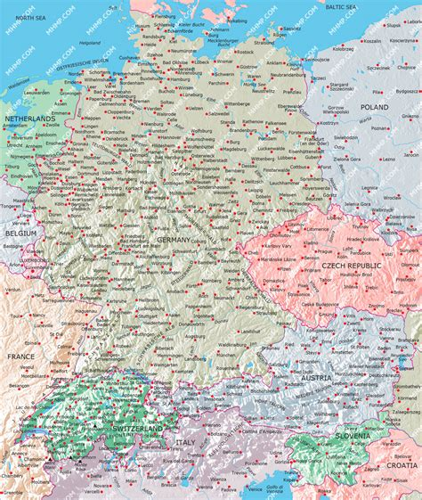map of switzerland and germany with cities germany switzerland austria map illustrator mountain