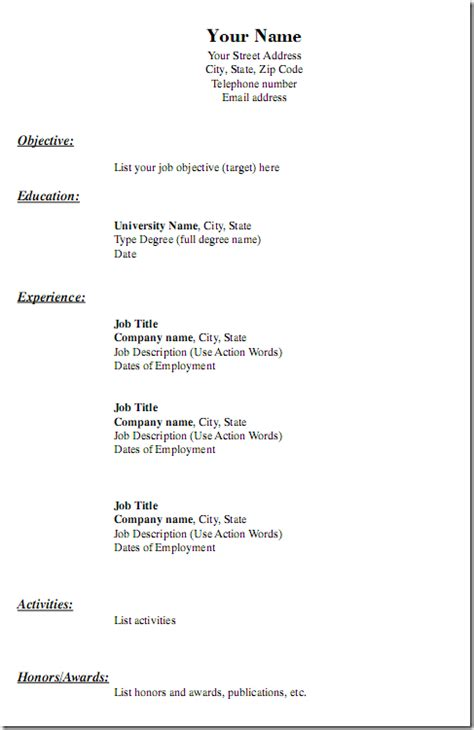 blank resume templates pdf free to print resume builder