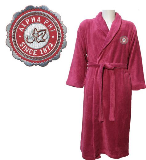 Terry Patch Maroon alpha phi patch seal bathrobe