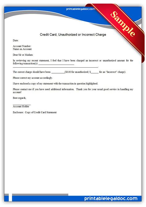 free printable credit card form generic