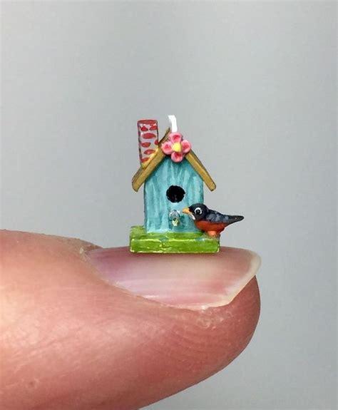 handmade dolls house miniatures ooak miniature dollhouse birdhouse spring robin shabby 1 4