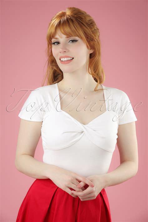 Nasya Blouse White 50 50s she who dares top in white