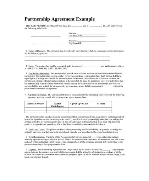 6 Simple Business Partnership Agreements Sle Templates Simple Business Contract Template