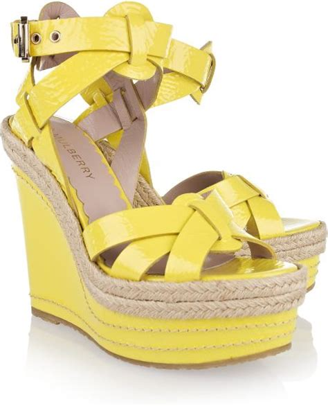 mulberry patent leather wedge sandals in yellow lemon lyst