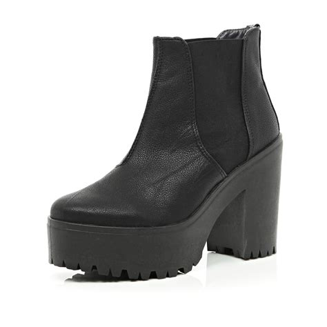 Buy A Kitchen Island black chunky platform chelsea boots