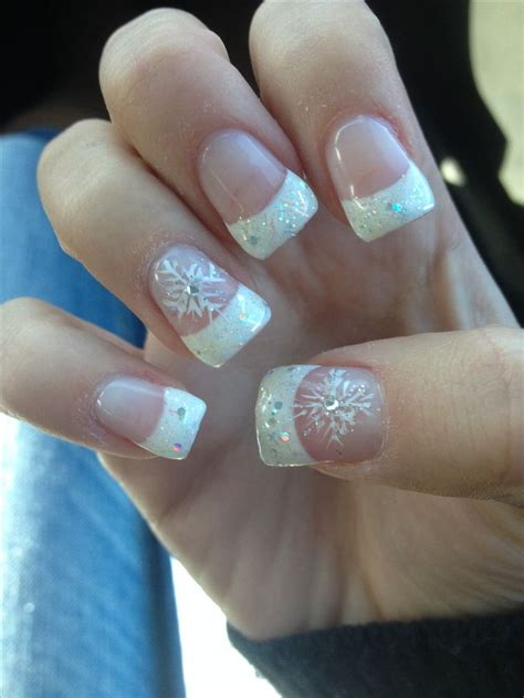 Acrylic Nail Tips by Acrylic Sparkle Tips With Snowflake Winter