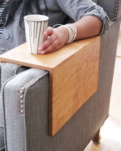 wooden couch sleeve custom arm drink rest laptop table for straight arm sofa