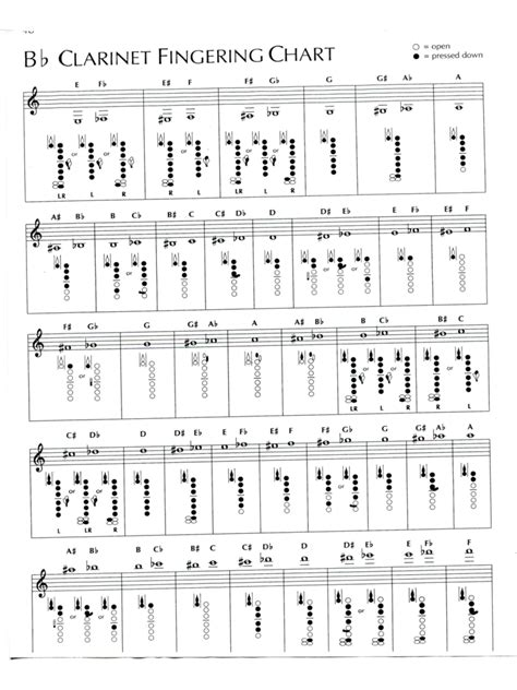 clarinet fingering chart template 4 free templates in