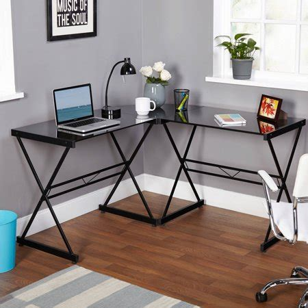 atrium metal and glass l shaped computer desk, multiple