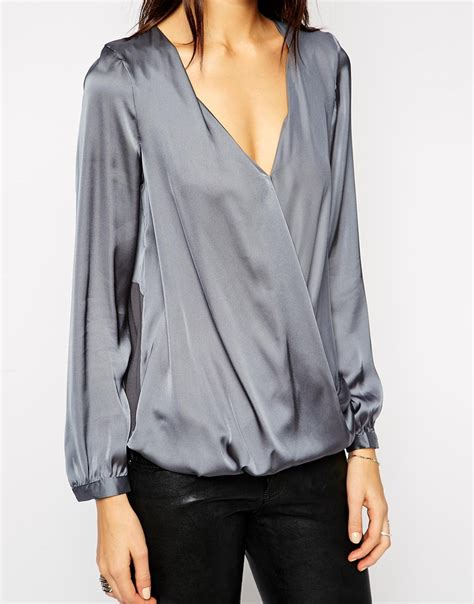 Micell Blouse Grey lyst lipsy keegan satin wrap front blouse in gray