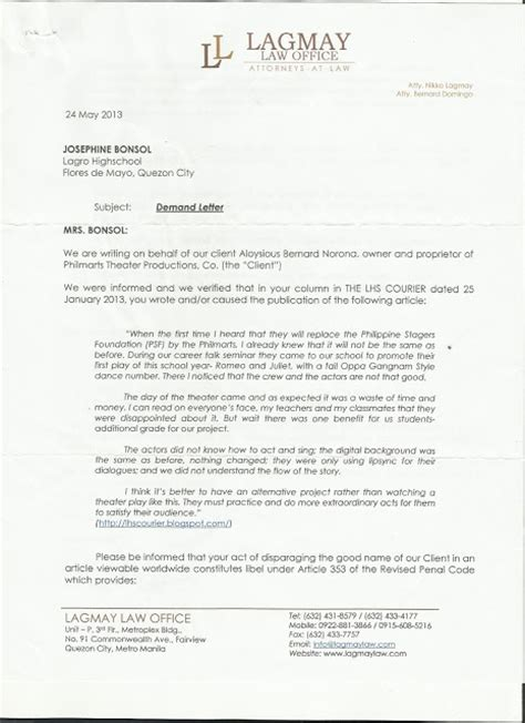 Demand Letter Philippine The Lagro High School Courier