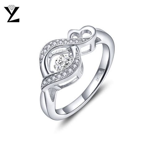 YL 925 Sterling Silver Dancing Topaz Engagement Rings for