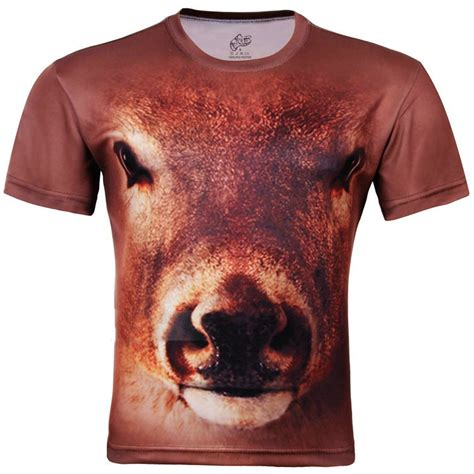 cow pattern t shirt free shipping men s cow head 3d creative animal pattern t