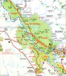 Map Of Banff Canada by Map Of Alberta National Parks
