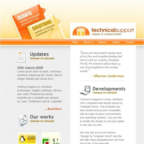technical support template free website templates in css
