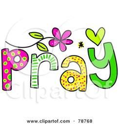 royalty free rf clipart illustration colorful pray word prawny 78768