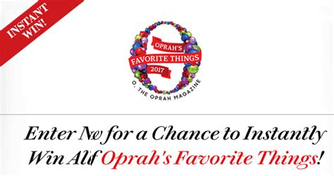 Oprah Sweepstakes 2017 - oprah s favorite things instant win 2017