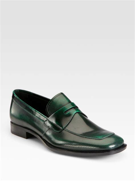 prada loafers lyst prada spazzolato loafers in green for
