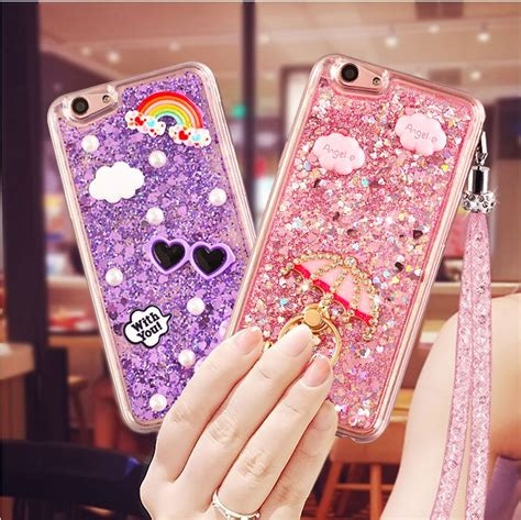 Bling Iphone Samaung Xiomi Oppo oppo f1s bling glitter liquid sparkle with flower finger ring hang soft