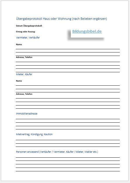 Muster Wohnungs Bergabeprotokoll Word gro 223 252 bergabeformular vorlage bilder entry level resume
