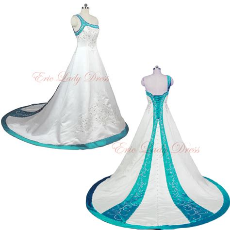 Plus Size Murah plus size blue and white wedding dress beli murah plus