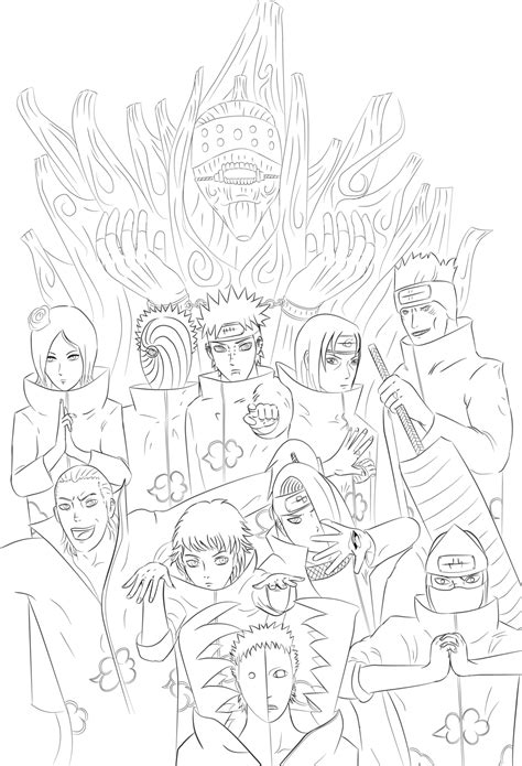naruto coloring pages akatsuki all akatsuki members coloring page coloring home