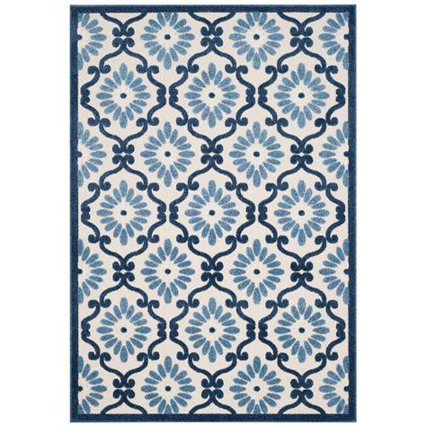 Safavieh Cottage Indoor Outdoor Ivory Blue 4 Ft X 6 Ft 4 X 6 Outdoor Rugs