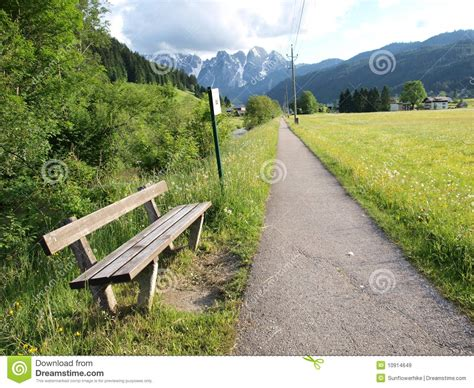 bench road bench on the country road royalty free stock images