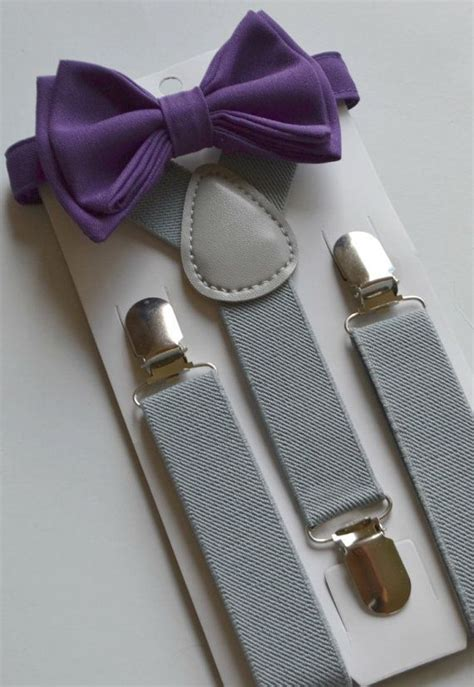 light up bow tie and suspenders eggplant purple bow tie light gray suspenders ring