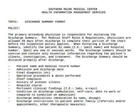 patient discharge summary template sle discharge summary 13 documents in word pdf