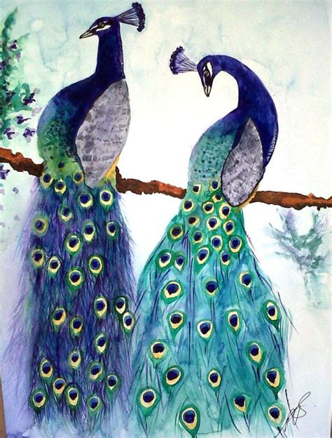 Painting 200x80cm 2 Peacock saatchi peacocks i sold painting by paula steffensen