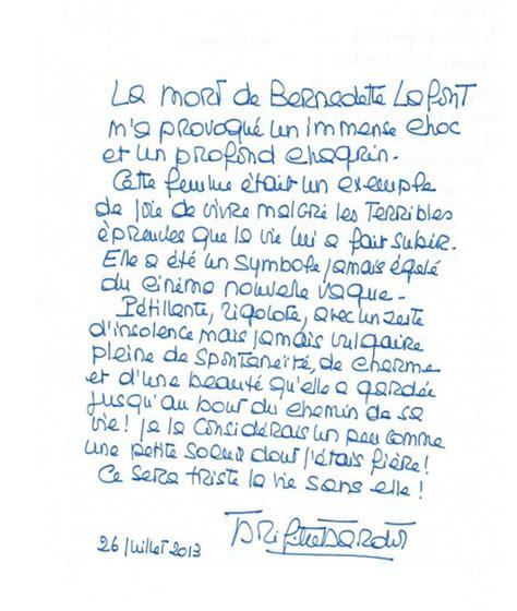 Exemple De Lettre D Hommage La Lettre D Hommage De Brigitte Bardot 224 Bernadette Lafont