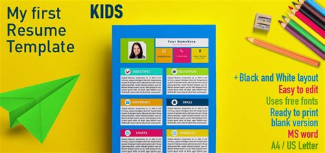 Sample Resume For Kids – Resume Templates For Kids   Template Design