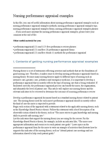 Evaluation Letter For Nurses nursing performance appraisal exles performance appraisal nursing