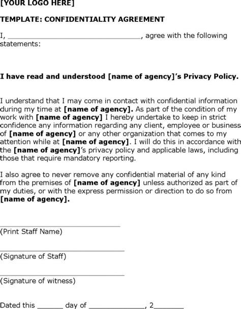 simple non disclosure agreement form download free