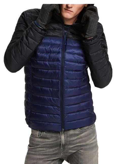 scotch soda quilted hooded jacket blue black