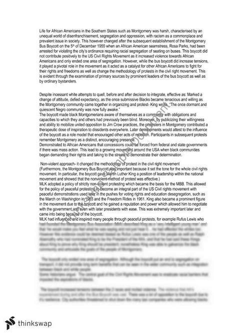 Montgomery Boycott Essay by Montgomery Boycott Essay Year 11 Hsc Modern History Thinkswap
